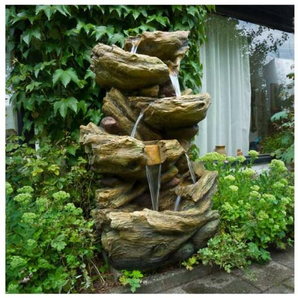Fontaine de jardin cascade d\'eau Sedona à éclairage LED avec pompe