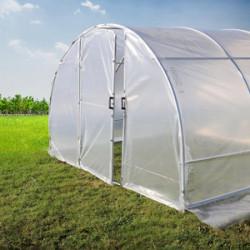 Trouvez la serre de jardin qui correspond au mieux à vos besoins, parmi notre sélection de serres tunnel pied droit. Nos serres et tunnels de jardin sont conçus pour durer dans le temps et vous satisfaire pleinement. Vous pourrez y cultiver vos potagers et vos plantes. Les arceaux sont en acier galvanisé, avec ancrage inclus. Vous pourrez opter pour une bâche en 200 microns (200g/m²) ou en PVC armé Robustex 400 microns, qui est utilisé par les professionnels. Plusieurs options vous sont proposées : façades pleines ou bien avec porte simple ou doubles. La fabrication est française et garantie de qualité professionnelle.